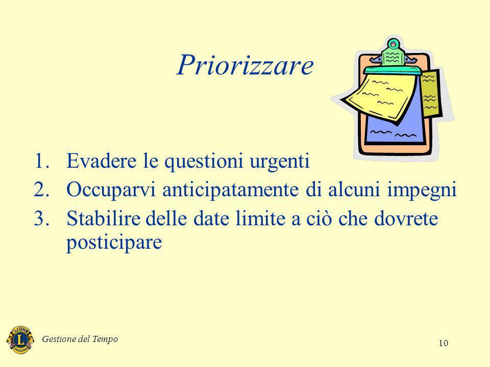 Gestione del Tempo 10 Priorizzare 1.Evadere le questioni urgenti 2.Occuparvi anticipatamente di alcuni impegni 3.Stabilire delle date limite a ciò che
