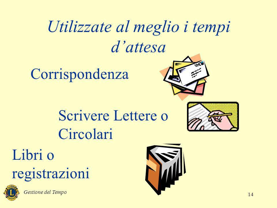 Gestione del Tempo 14 Utilizzate al meglio i tempi dattesa Corrispondenza Scrivere Lettere o Circolari Libri o registrazioni