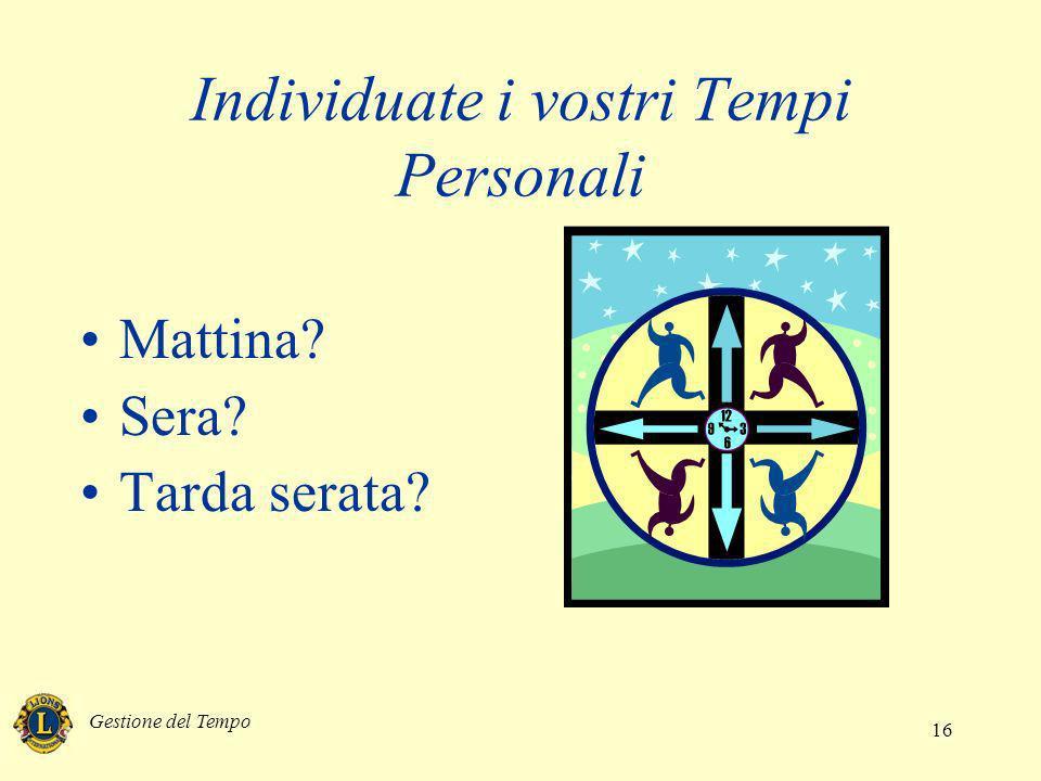 Gestione del Tempo 16 Individuate i vostri Tempi Personali Mattina? Sera? Tarda serata?