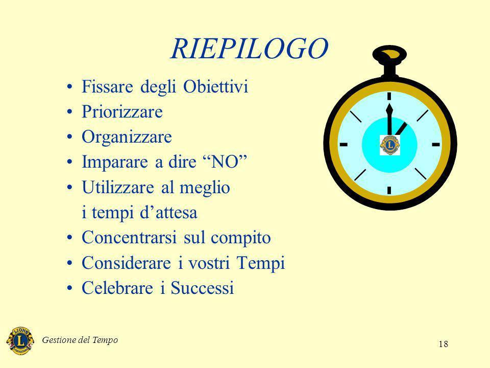 Gestione del Tempo 18 RIEPILOGO Fissare degli Obiettivi Priorizzare Organizzare Imparare a dire NO Utilizzare al meglio i tempi dattesa Concentrarsi s
