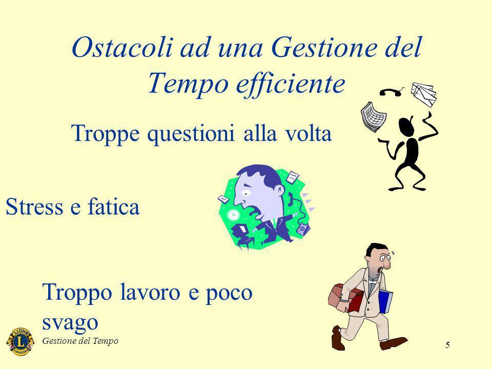 Gestione del Tempo 5 Ostacoli ad una Gestione del Tempo efficiente Troppe questioni alla volta Stress e fatica Troppo lavoro e poco svago