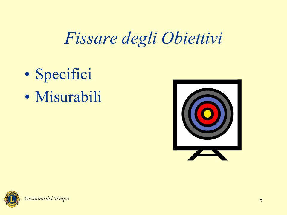 Gestione del Tempo 7 Fissare degli Obiettivi Specifici Misurabili