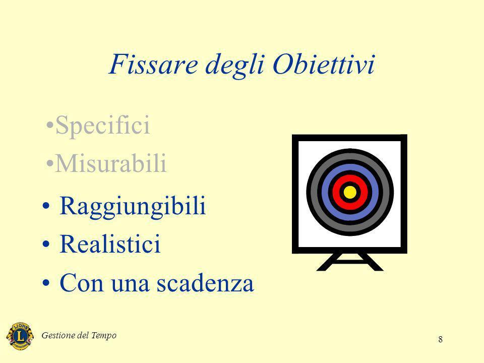 Gestione del Tempo 8 Raggiungibili Realistici Con una scadenza Fissare degli Obiettivi Specifici Misurabili