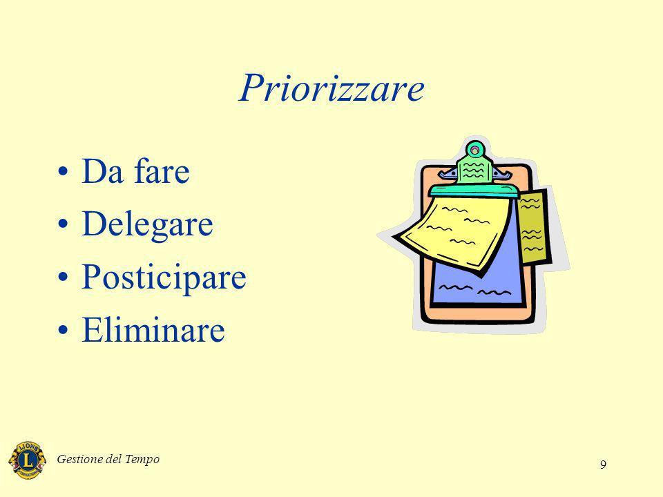 Gestione del Tempo 9 Priorizzare Da fare Delegare Posticipare Eliminare