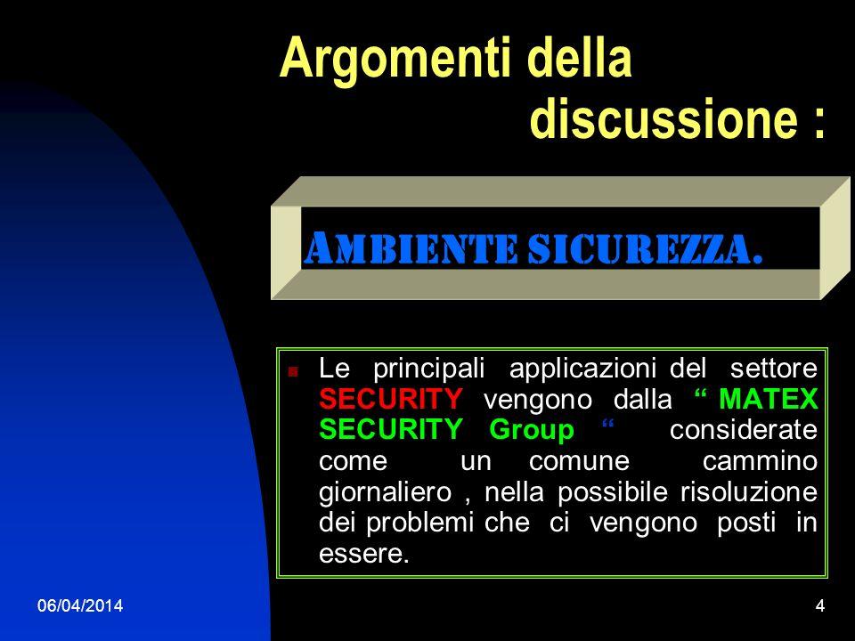 06/04/20144 Argomenti della discussione : Le principali applicazioni del settore SECURITY vengono dalla MATEX SECURITY Group considerate come un comune cammino giornaliero, nella possibile risoluzione dei problemi che ci vengono posti in essere.