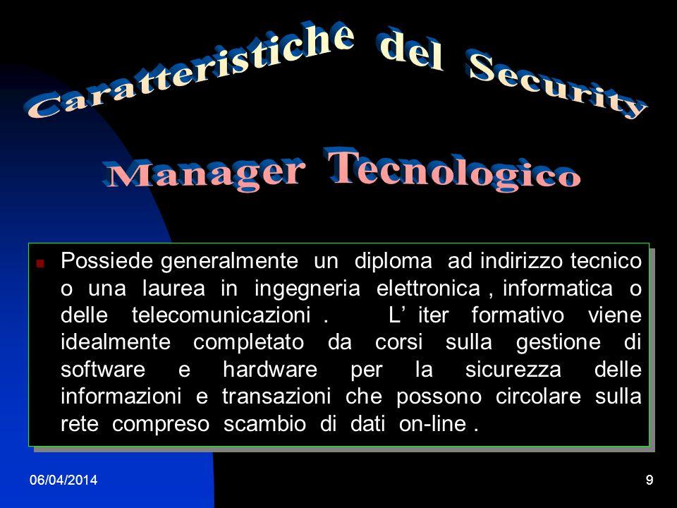 06/04/20148 L Information Technology I compiti del Security Manager sono quelli di controllare e difendere tutti i dati e le transazioni giornaliere che vengono effettuate nel settore industriale, bancario e commerciale, deve essere sempre aggiornatissimo sulle nuove tecnologie di software e hardware.