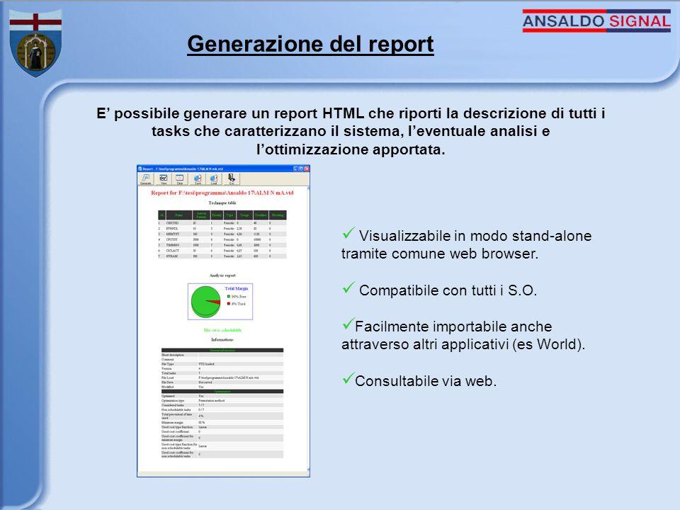 Generazione del report E possibile generare un report HTML che riporti la descrizione di tutti i tasks che caratterizzano il sistema, leventuale analisi e lottimizzazione apportata.