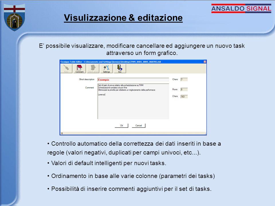 Visulizzazione & editazione E possibile visualizzare, modificare cancellare ed aggiungere un nuovo task attraverso un form grafico.