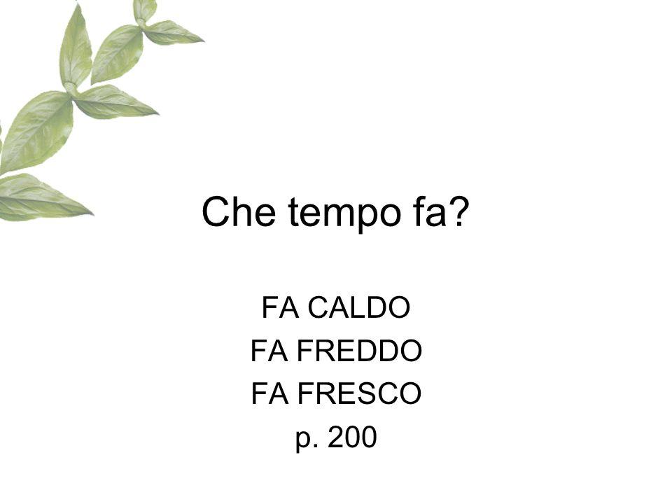 Che tempo fa? FA CALDO FA FREDDO FA FRESCO p. 200