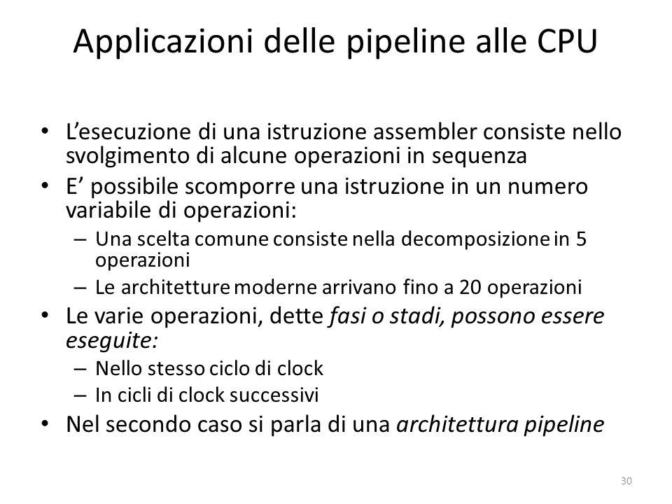 Applicazioni delle pipeline alle CPU Lesecuzione di una istruzione assembler consiste nello svolgimento di alcune operazioni in sequenza E possibile s