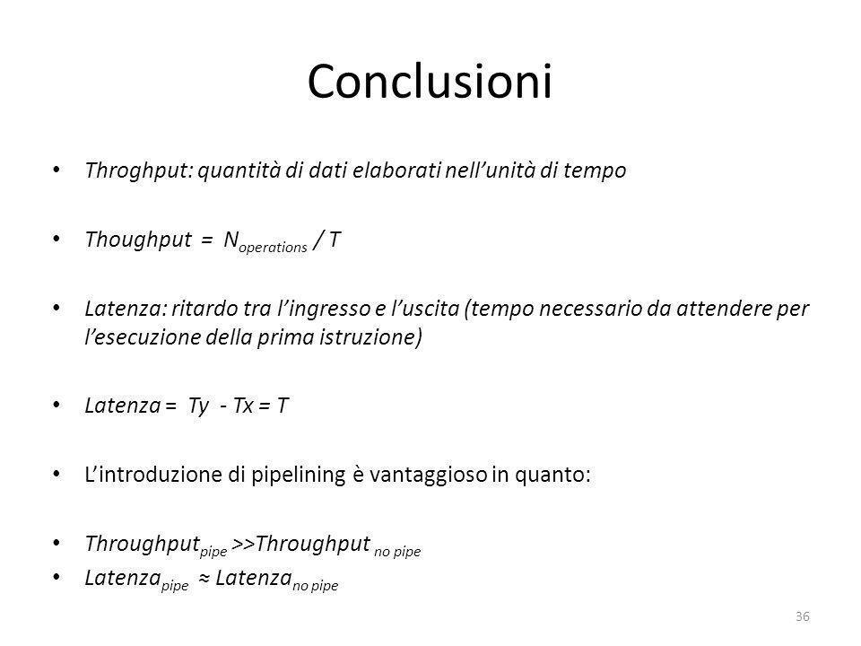 Conclusioni Throghput: quantità di dati elaborati nellunità di tempo Thoughput = N operations / T Latenza: ritardo tra lingresso e luscita (tempo nece