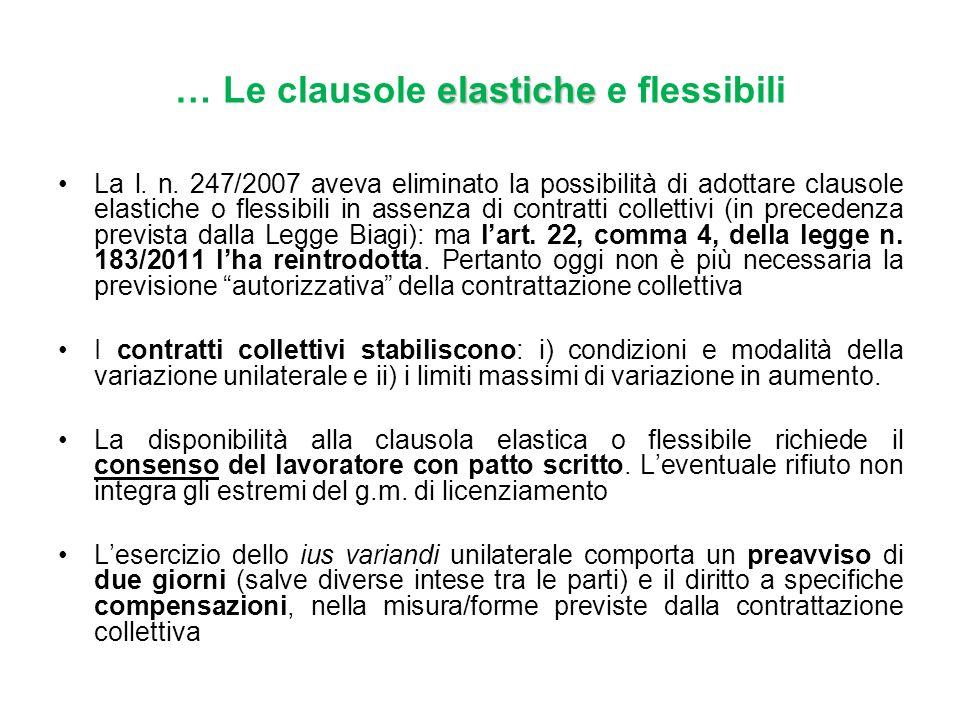 La l. n. 247/2007 aveva eliminato la possibilità di adottare clausole elastiche o flessibili in assenza di contratti collettivi (in precedenza previst