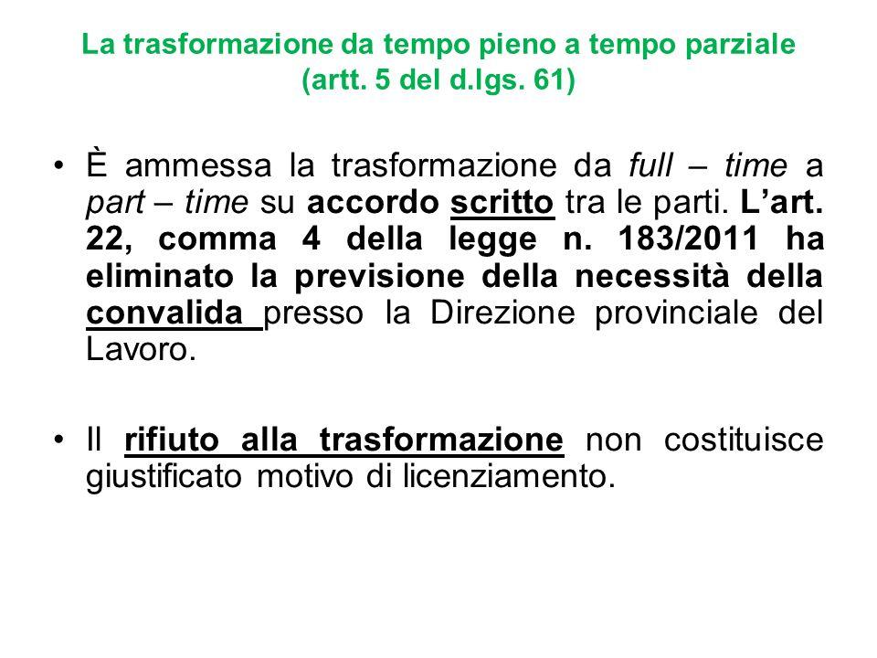 La trasformazione da tempo pieno a tempo parziale (artt. 5 del d.lgs. 61) È ammessa la trasformazione da full – time a part – time su accordo scritto