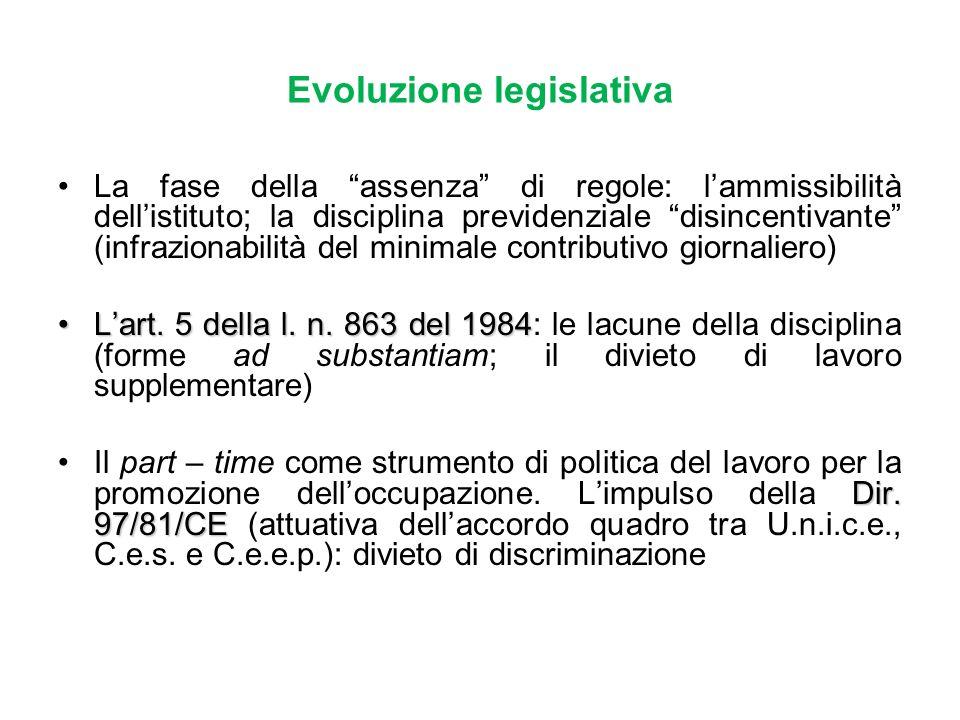 Evoluzione legislativa La fase della assenza di regole: lammissibilità dellistituto; la disciplina previdenziale disincentivante (infrazionabilità del