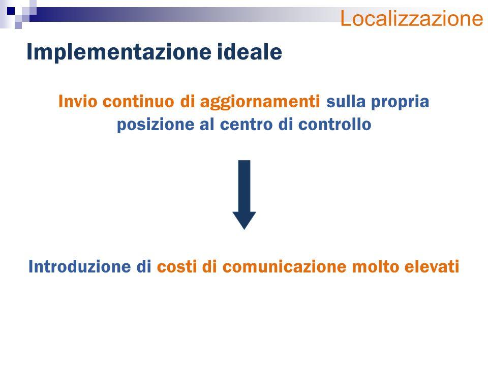 Invio continuo di aggiornamenti sulla propria posizione al centro di controllo Introduzione di costi di comunicazione molto elevati Implementazione ideale Localizzazione