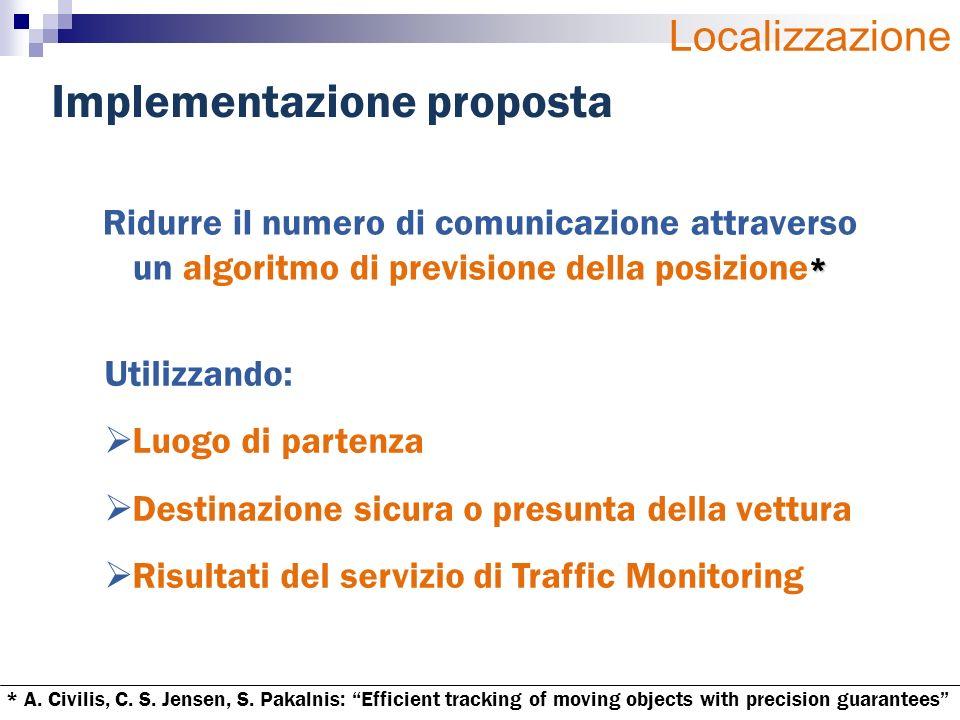 Implementazione proposta * Ridurre il numero di comunicazione attraverso un algoritmo di previsione della posizione * Utilizzando: Luogo di partenza D