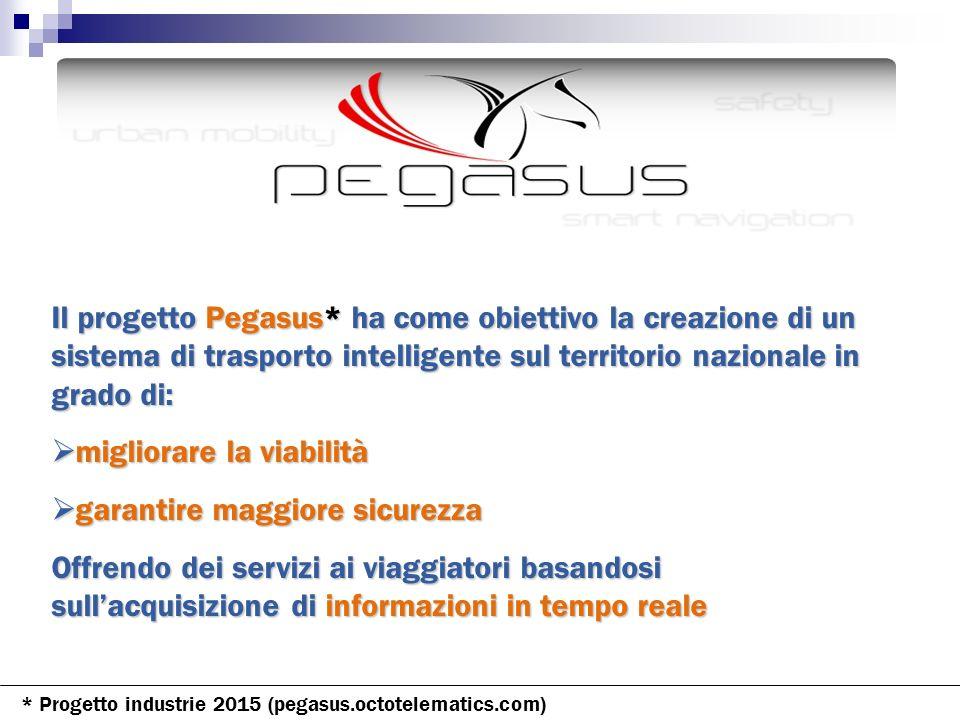 Il progetto Pegasus* ha come obiettivo la creazione di un sistema di trasporto intelligente sul territorio nazionale in grado di: migliorare la viabil