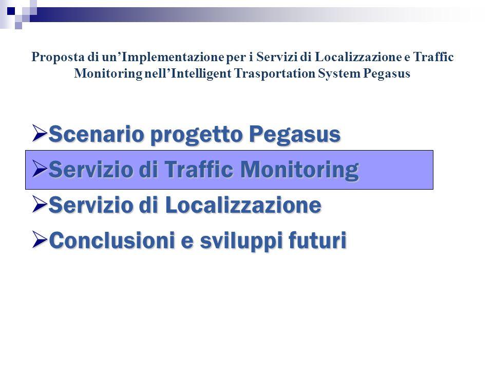 Proposta di unImplementazione per i Servizi di Localizzazione e Traffic Monitoring nellIntelligent Trasportation System Pegasus Scenario progetto Pegasus Scenario progetto Pegasus Servizio di Traffic Monitoring Servizio di Traffic Monitoring Servizio di Localizzazione Servizio di Localizzazione Conclusioni e sviluppi futuri Conclusioni e sviluppi futuri