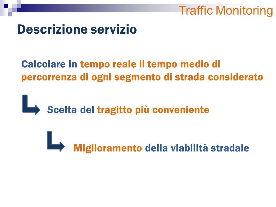 Descrizione servizio Calcolare in tempo reale il tempo medio di percorrenza di ogni segmento di strada considerato Scelta del tragitto più conveniente