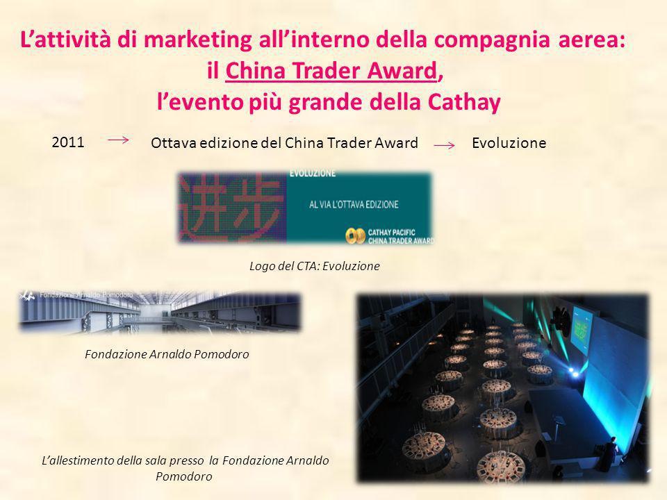 Lattività di marketing allinterno della compagnia aerea: il China Trader Award, levento più grande della Cathay 2011 Ottava edizione del China Trader