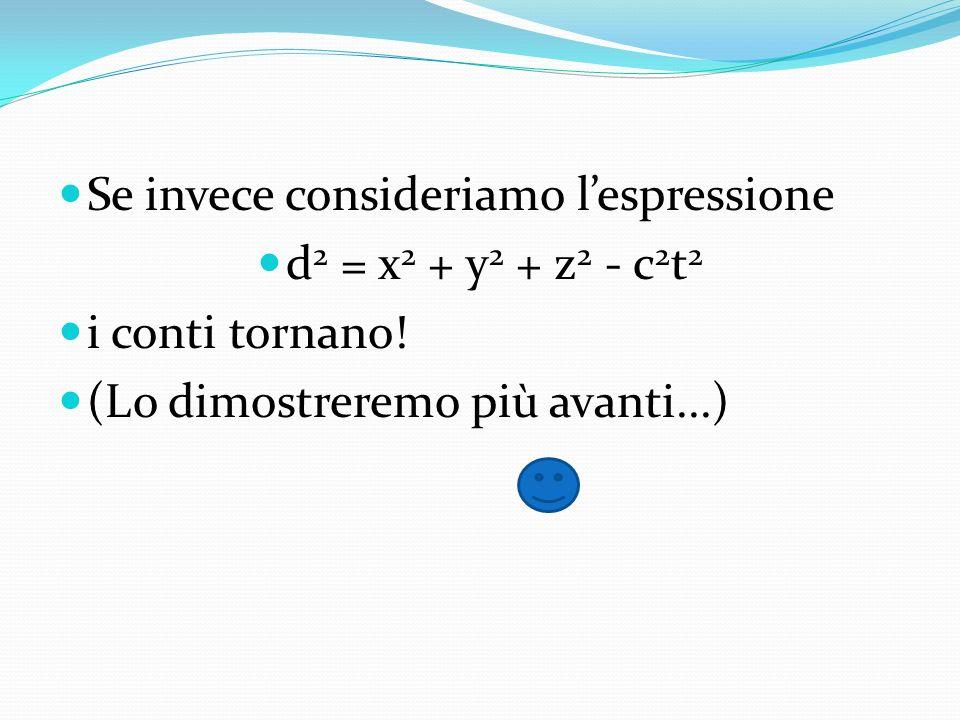 Se invece consideriamo lespressione d 2 = x 2 + y 2 + z 2 - c 2 t 2 i conti tornano! (Lo dimostreremo più avanti...)