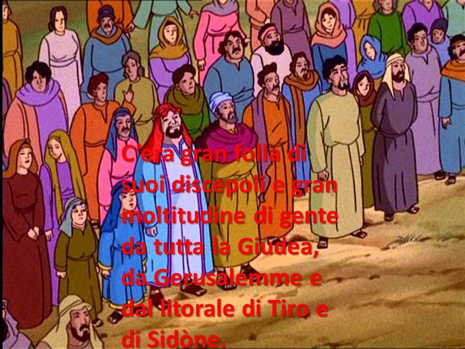 Cera gran folla di suoi discepoli e gran moltitudine di gente da tutta la Giudea, da Gerusalemme e dal litorale di Tiro e di Sidòne.