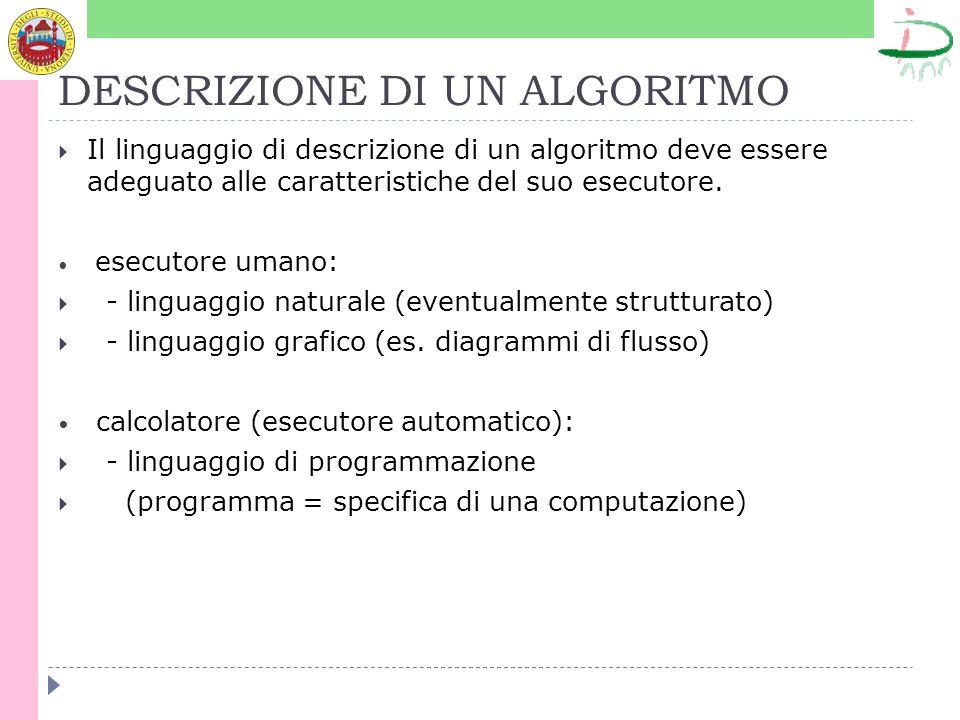 DESCRIZIONE DI UN ALGORITMO Il linguaggio di descrizione di un algoritmo deve essere adeguato alle caratteristiche del suo esecutore. esecutore umano: