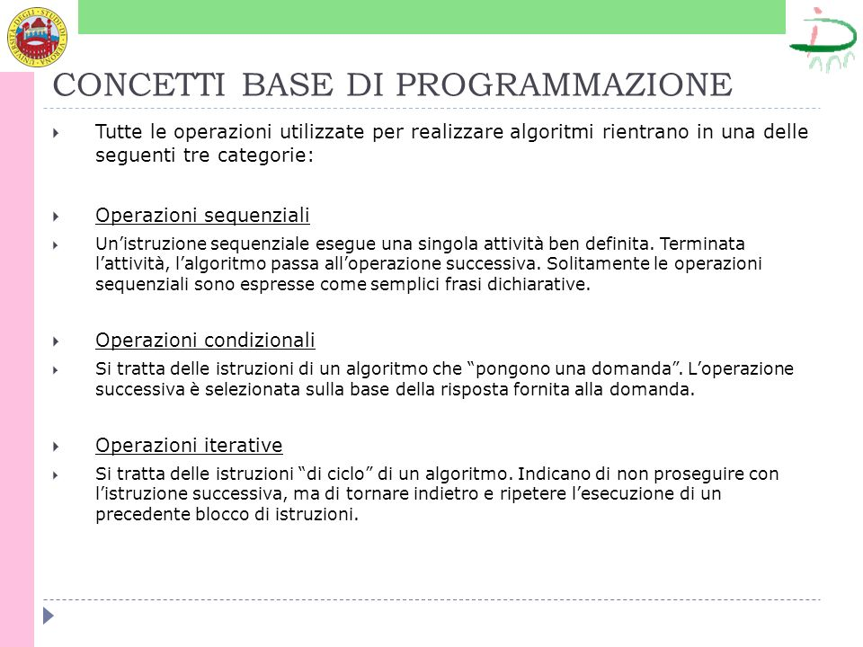 PROPRIETA DEGLI ALGORITMI Un algoritmo deve essere: non ambiguo (i risultati non devono variare in funzione della macchina o persona che esegue l algoritmo) corretto (deve risolvere un dato problema) realizzabile (deve essere eseguibile con le risorse a disposizione) finito (deve essere composto da un numero finito di passi elementari; le operazioni sono eseguite un numero finito di volte) efficiente (deve avere un costo accettabile, se non ottimo, in termini di risorse consumate: tempo di CPU richiesto per completare, quantità di memoria utilizzata, quantità di bit trasferiti)