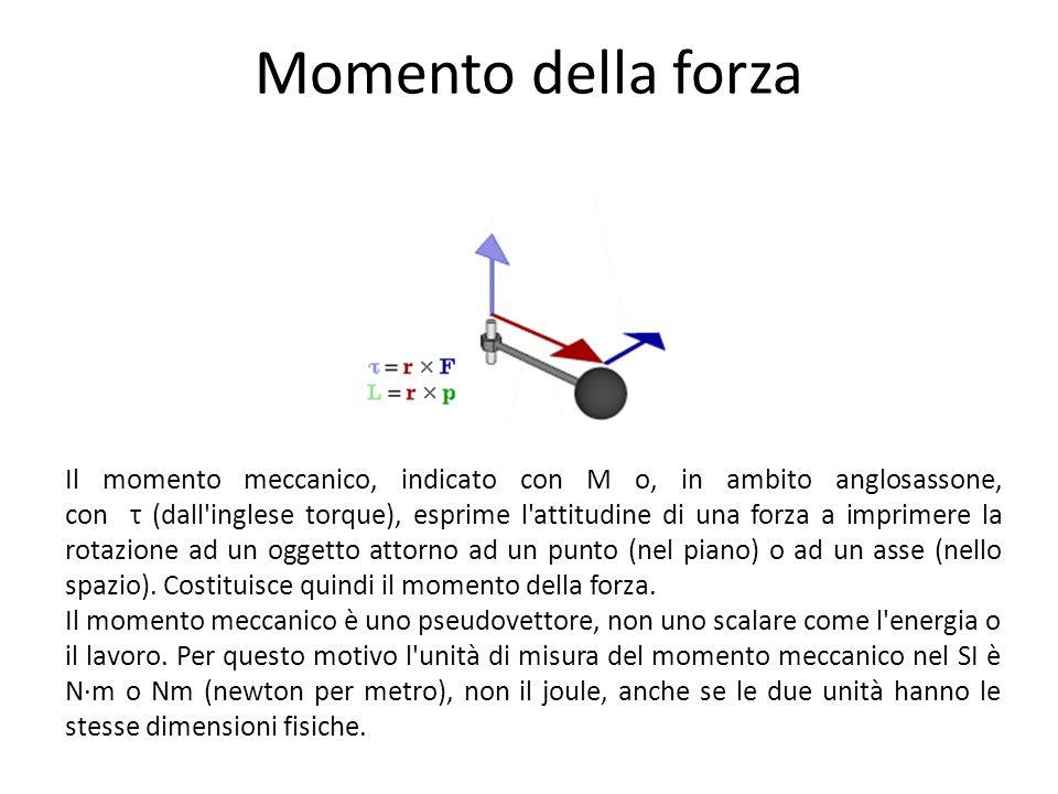 Momento della forza Il momento meccanico, indicato con M o, in ambito anglosassone, con τ (dall'inglese torque), esprime l'attitudine di una forza a i