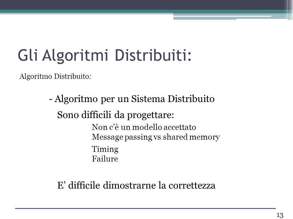 Gli Algoritmi Distribuiti: Sono difficili da progettare: Non cè un modello accettato Message passing vs shared memory Timing Failure E difficile dimos