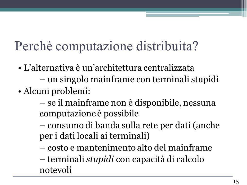 Lalternativa è unarchitettura centralizzata – un singolo mainframe con terminali stupidi Alcuni problemi: – se il mainframe non è disponibile, nessuna