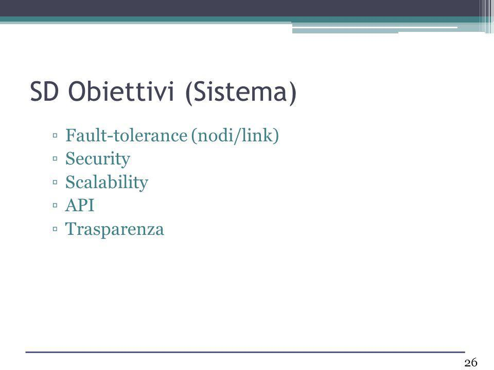 SD Obiettivi (Sistema) Fault-tolerance (nodi/link) Security Scalability API Trasparenza 26