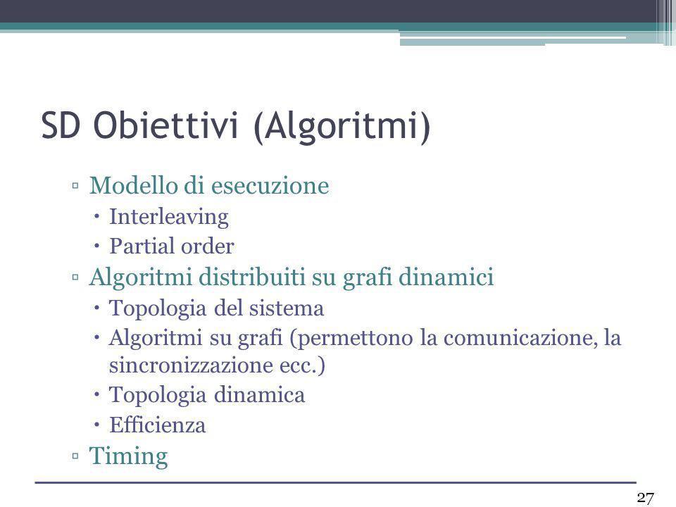 SD Obiettivi (Algoritmi) Modello di esecuzione Interleaving Partial order Algoritmi distribuiti su grafi dinamici Topologia del sistema Algoritmi su g