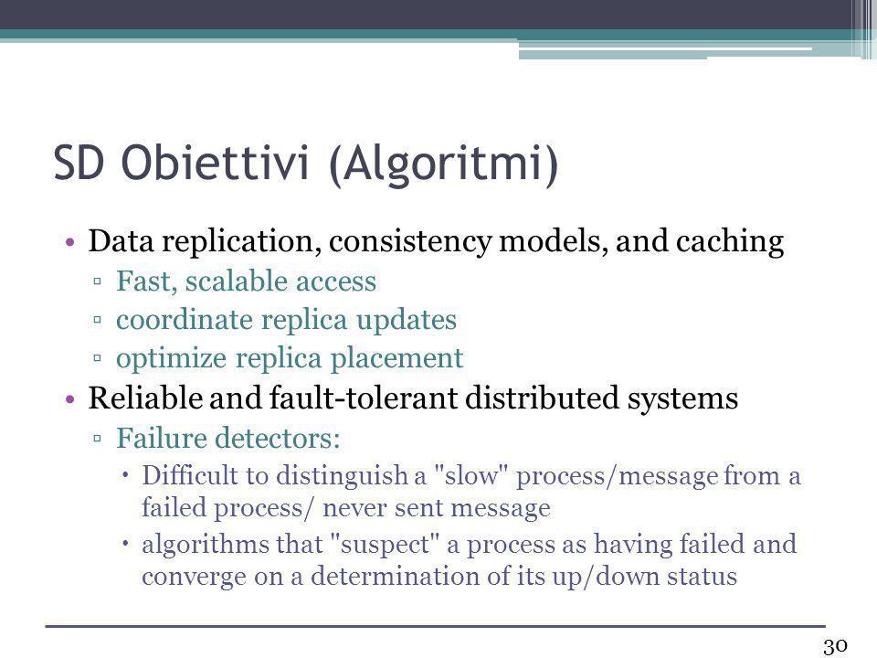 SD Obiettivi (Algoritmi) Data replication, consistency models, and caching Fast, scalable access coordinate replica updates optimize replica placement