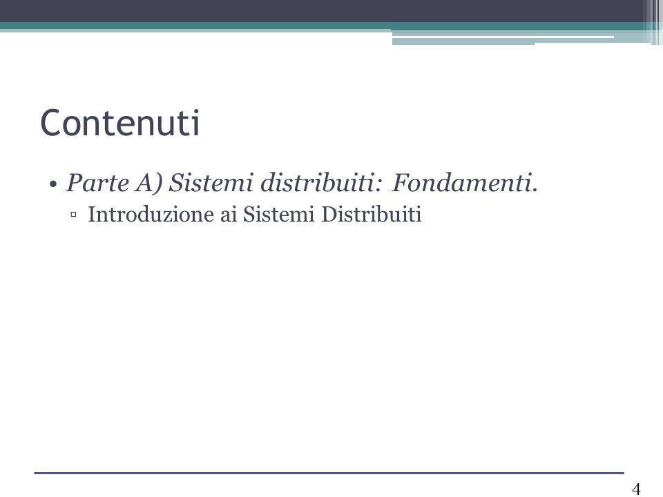 Contenuti Parte A) Sistemi distribuiti: Fondamenti. Introduzione ai Sistemi Distribuiti 4