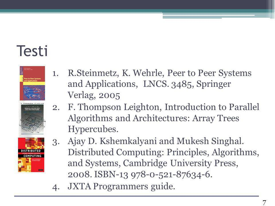 Testi 1.R.Steinmetz, K. Wehrle, Peer to Peer Systems and Applications, LNCS. 3485, Springer Verlag, 2005 2.F. Thompson Leighton, Introduction to Paral