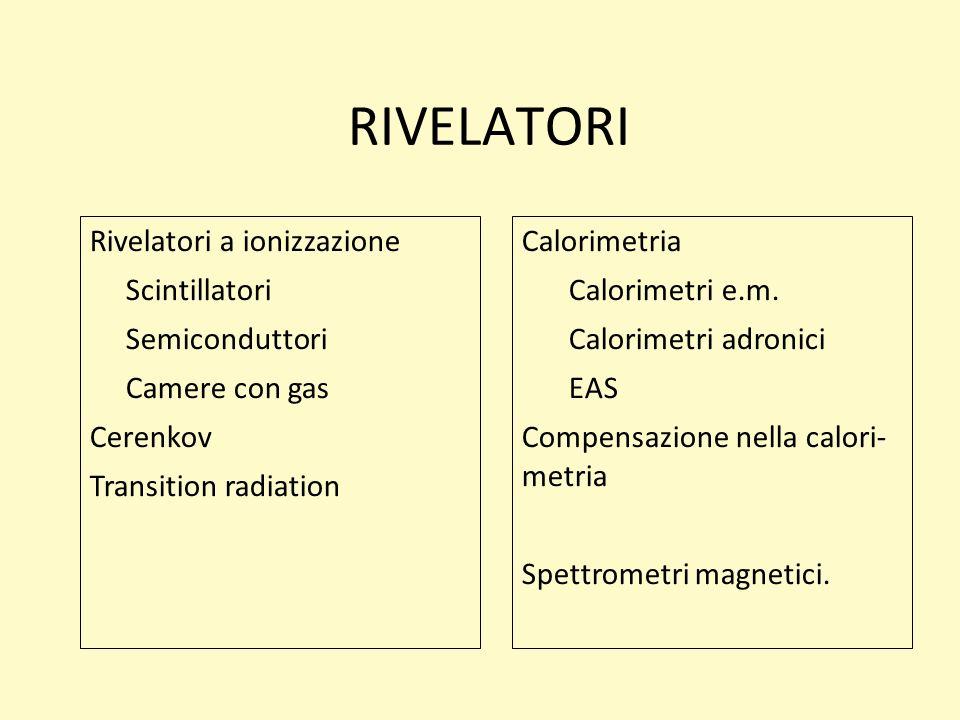RIVELATORI Rivelatori a ionizzazione Scintillatori Semiconduttori Camere con gas Cerenkov Transition radiation Calorimetria Calorimetri e.m. Calorimet