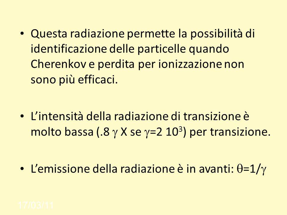 17/03/11 Questa radiazione permette la possibilità di identificazione delle particelle quando Cherenkov e perdita per ionizzazione non sono più efficaci.