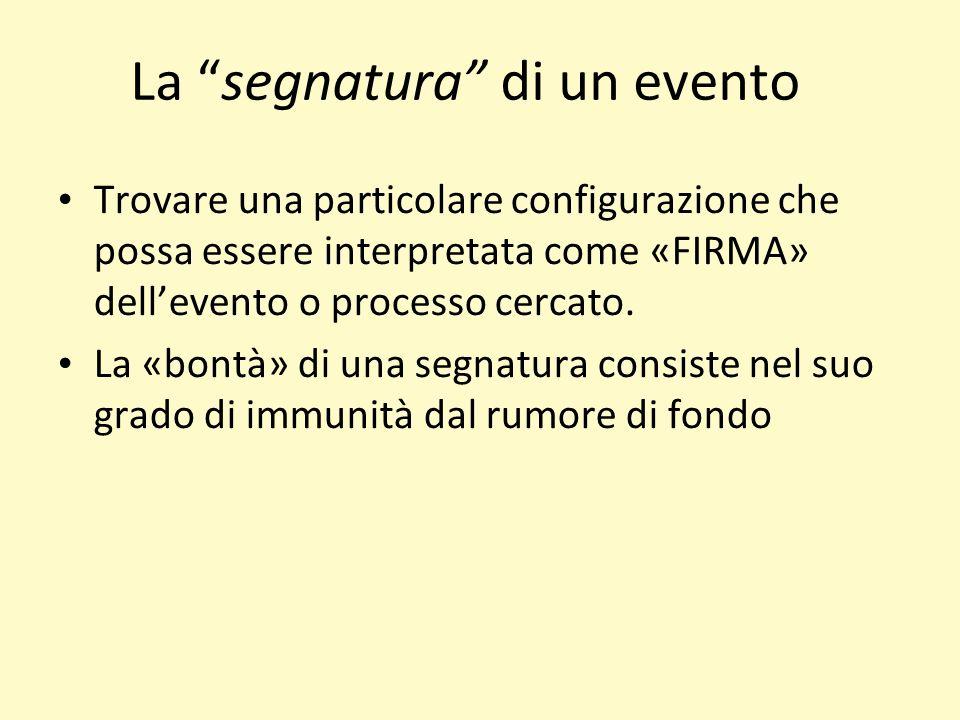 La segnatura di un evento Trovare una particolare configurazione che possa essere interpretata come «FIRMA» dellevento o processo cercato. La «bontà»