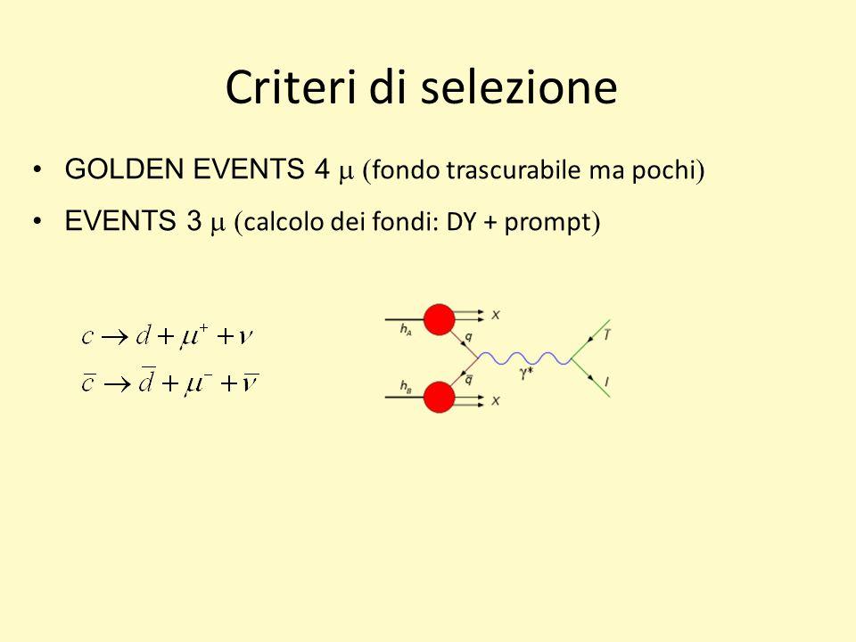 Criteri di selezione GOLDEN EVENTS 4 fondo trascurabile ma pochi EVENTS 3 calcolo dei fondi: DY + prompt