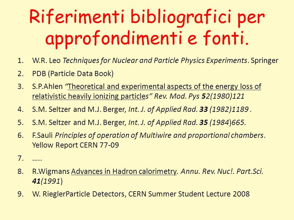 Riferimenti bibliografici per approfondimenti e fonti. 1.W.R. Leo Techniques for Nuclear and Particle Physics Experiments. Springer 2.PDB (Particle Da