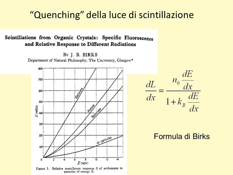 Quenching della luce di scintillazione Formula di Birks