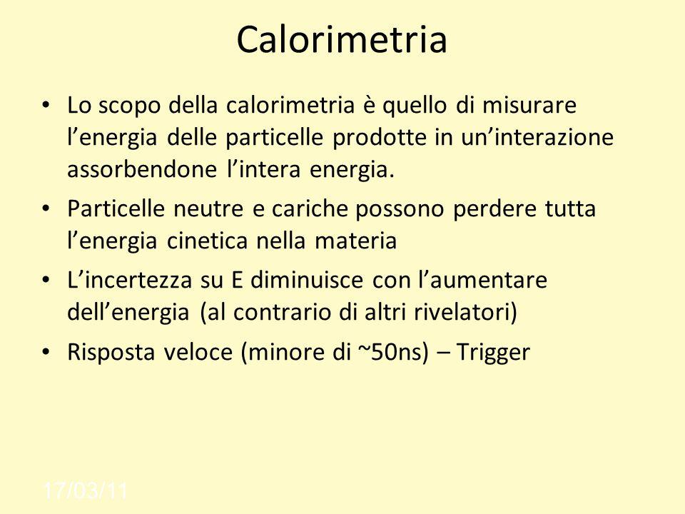 Calorimetria Lo scopo della calorimetria è quello di misurare lenergia delle particelle prodotte in uninterazione assorbendone lintera energia.