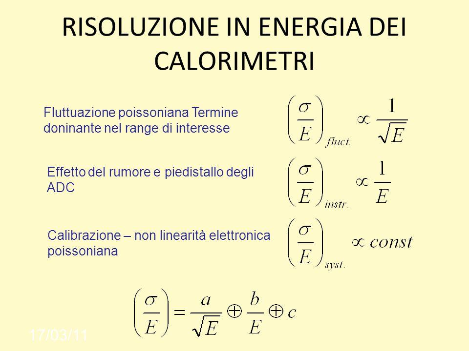 RISOLUZIONE IN ENERGIA DEI CALORIMETRI 17/03/11 Fluttuazione poissoniana Termine doninante nel range di interesse Calibrazione – non linearità elettro