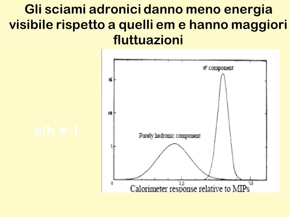 Gli sciami adronici danno meno energia visibile rispetto a quelli em e hanno maggiori fluttuazioni e/h = 1/