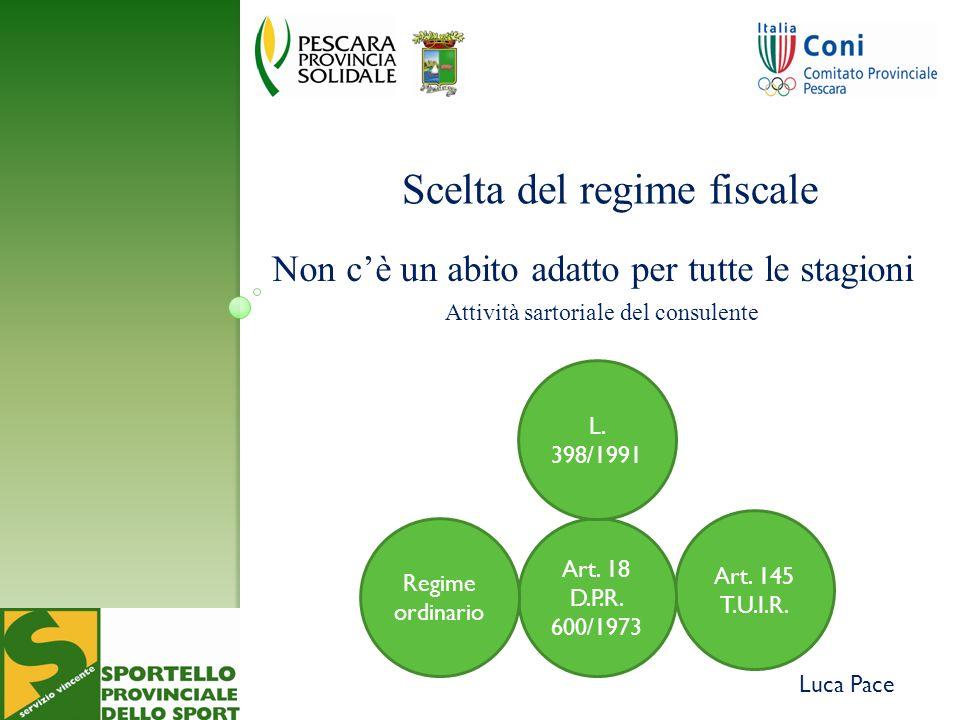 Luca Pace Scelta del regime fiscale Non cè un abito adatto per tutte le stagioni Attività sartoriale del consulente Art.