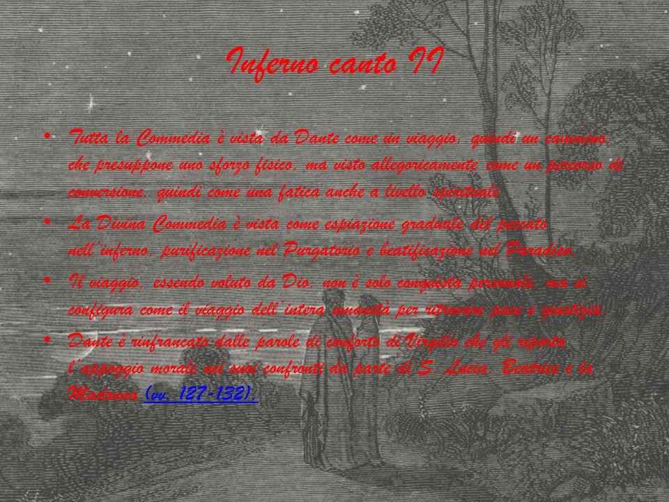 Inferno canto II Tutta la Commedia è vista da Dante come un viaggio, quindi un cammino, che presuppone uno sforzo fisico, ma visto allegoricamente com