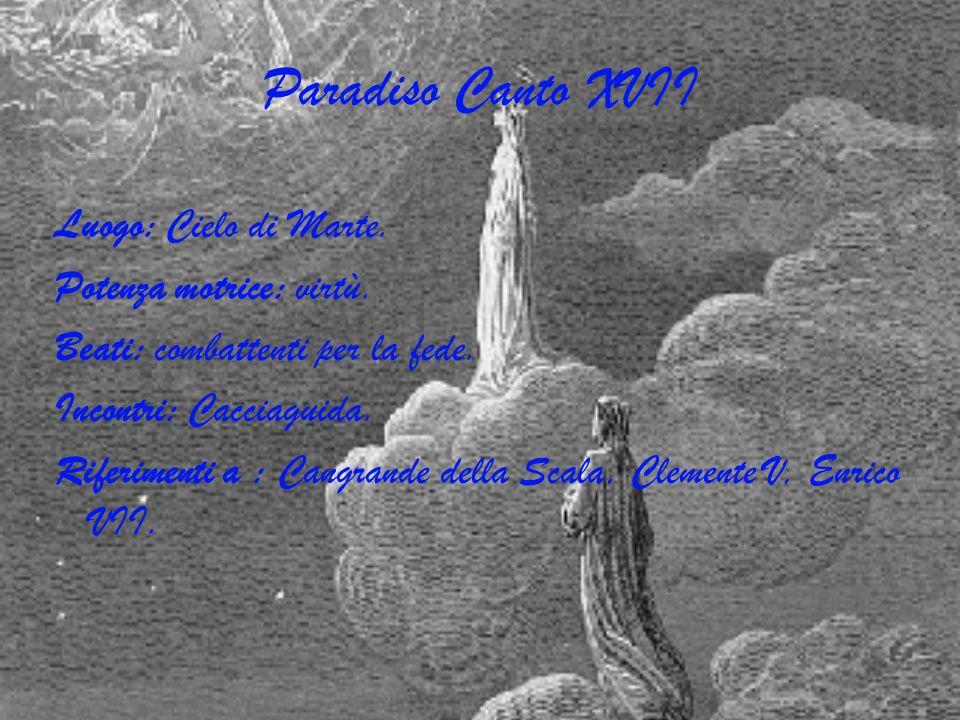 Paradiso Canto XVII Luogo: Cielo di Marte. Potenza motrice: virtù. Beati: combattenti per la fede. Incontri: Cacciaguida. Riferimenti a : Cangrande de