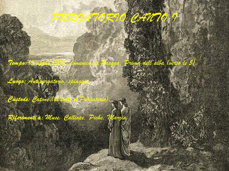 PURGATORIO CANTO I Tempo: 10 aprile 1300, domenica di Pasqua. Prima dellalba (verso le 5). Luogo: Antipurgatorio, spiaggia. Custode: Catone (di tutto