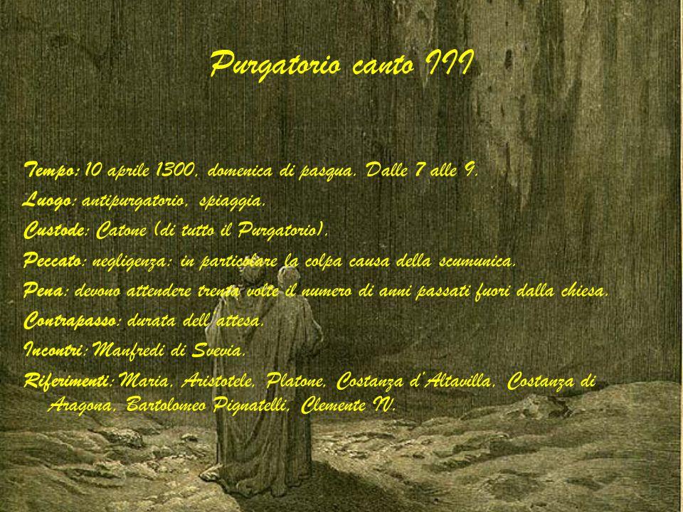 Purgatorio canto III Tempo: 10 aprile 1300, domenica di pasqua. Dalle 7 alle 9. Luogo: antipurgatorio, spiaggia. Custode: Catone (di tutto il Purgator